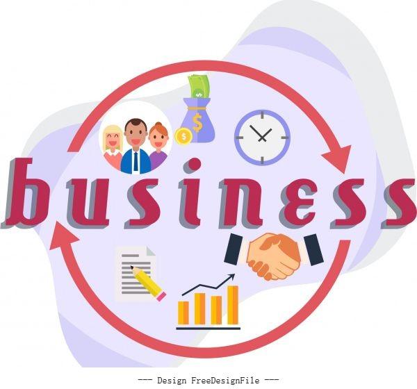 Business elements handshake staff clock chart vector