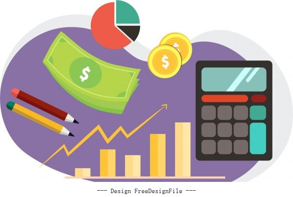 Business elements icons money coin calculator charts vector