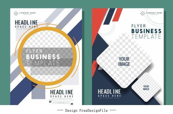 Business flyer templates modern bright checkered decor vector