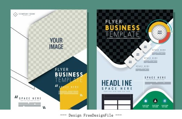 Business flyer templates modern colorful checkered vector