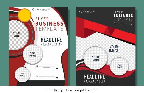 Business flyer templates modern elegant checkered decor vectors