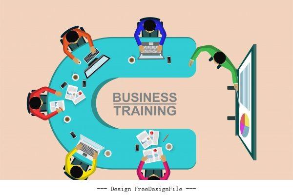 Corporate staff training business meeting  cartoon vector