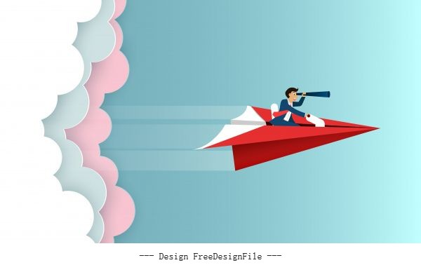 Businessman sit on paper plane vectors material