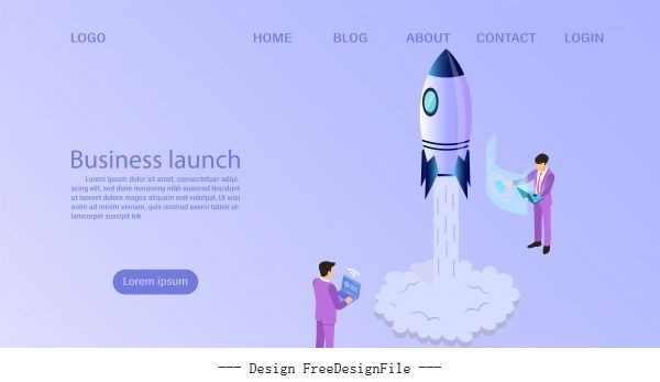 Businessman start to launch a space rocket business start up concept flat 3d isometric vector design