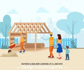 Buyers builder looking at a job site vector