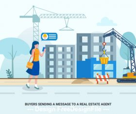 Buyers sending a message to a real estate agent vector
