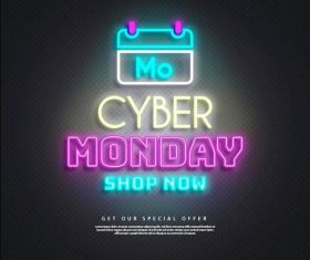 Calendar cyber monday sales neon lights vector