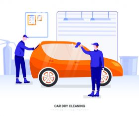 Car dry cleaning illustration vector