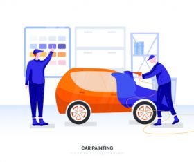 Car painting illustration vector