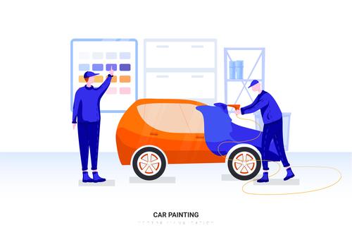 Car painting illustration vector