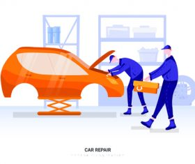 Car repair illustration vector