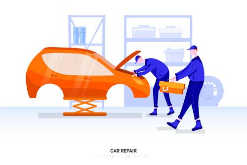 Car repair illustration vector