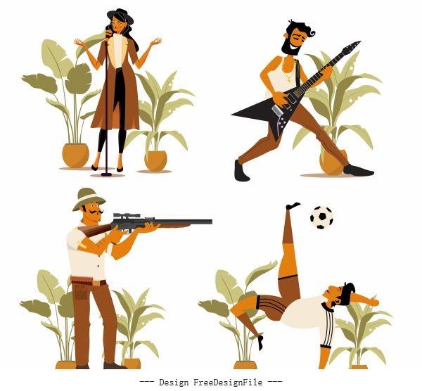 Career icons singer guitarist hunter footballer sketch vectors
