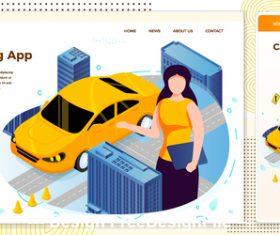 Carsharing app cartoon cover vector