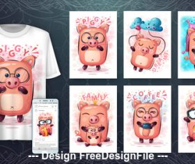 Cartoon 3d t-shirts with mult funny pig vector