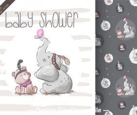 Cartoon animal pattern background vector