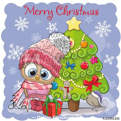 Cartoon animals at the christmas tree vector