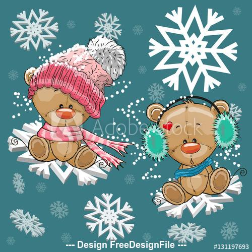Cartoon animals on winter background vector