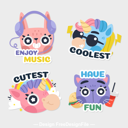 Cartoon animals with inscriptions illustrations vector