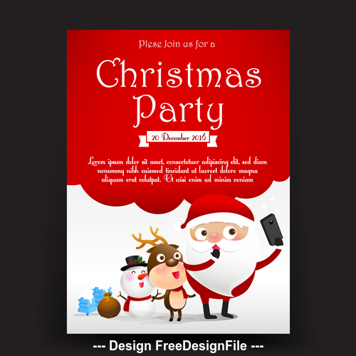 Cartoon background christmas invitation card vector