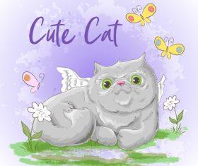 Cartoon cat with flowers vector