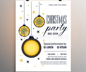 Cartoon christmas ball background new year party flyer vector