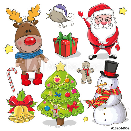 Cartoon christmas element vector free