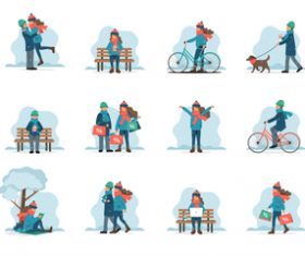 Cartoon couple dating vector illustration