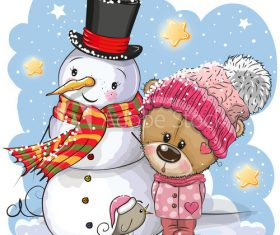 Cartoon cute animals on winter background vector