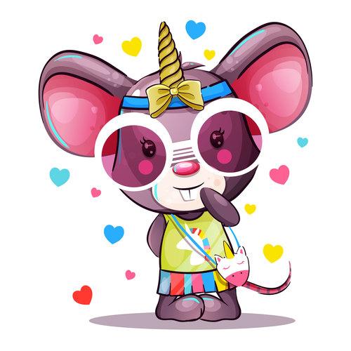 Cartoon cute rat vector