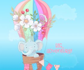 Cartoon elephant sitting on hot air balloon vector