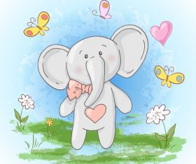 Cartoon elephant with butterfly and flowers vector