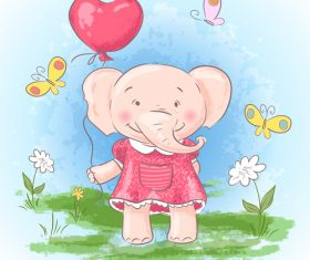 Cartoon elephant with flowers vector