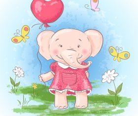 Cartoon elephant with flowers vector