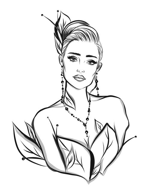 Cartoon female portrait sketch vector