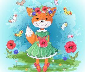 Cartoon fox with flowers vector