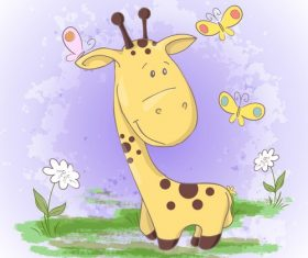 Cartoon giraffe with flowers vector