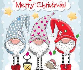 Cartoon gnome background christmas card vector