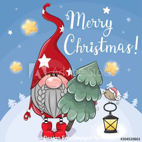 Cartoon gnome holding christmas tree greeting card vector