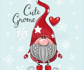 Cartoon gnome on winter background vector