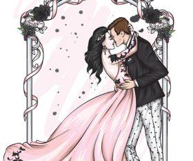 Cartoon groom and bride wedding vector vector