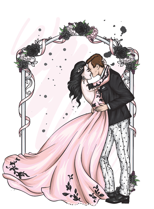 Cartoon groom and bride wedding vector vector