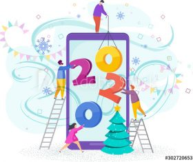 Cartoon illustration greeting new year vector