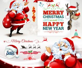 Cartoon illustration santa red label vector