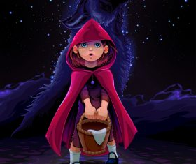 Cartoon little red riding hood and wolf vector