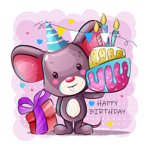 Cartoon rat birthday vector