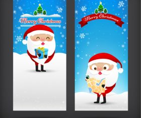 Cartoon santa new year card banner vector