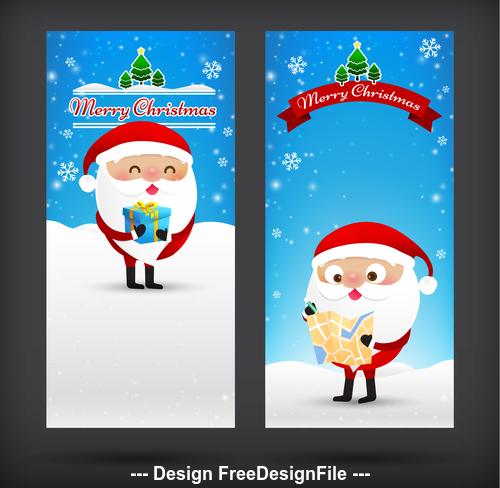 Cartoon santa new year card banner vector