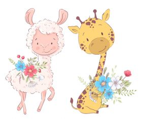 Cartoon sheep and giraffe vector