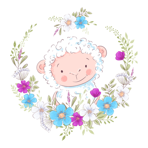 Cartoon sheep with flowers vector